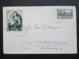 Saarland 1955 Nr. 322 U. 352 Marianisches Jahr MiF St. Ingbert (Saar) Nach Allershausen - 1947-56 Allierte Besetzung