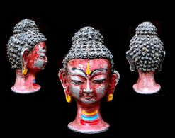 Petite Tête De Bouddha Tibétain / Vintage Tibetan Buddha Head - Asian Art