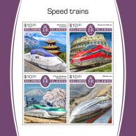 SOLOMON ISLANDS 2017 MNH** Speed Trains Schnellzüge Trains De Vitesse M/S - IMPERFORATED - DH1805 - Eisenbahnen