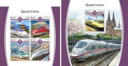 SOLOMON ISLANDS 2017 MNH** Speed Trains Schnellzüge Trains De Vitesse M/S+S/S - IMPERFORATED - DH1805 - Eisenbahnen