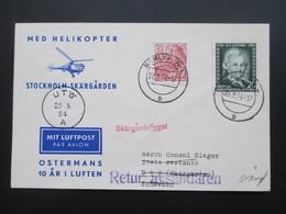 DDR 1954 Med Helikopter Stockholm Skärgarden. Skärgardsflyget. Retur Avsandaren. Zuleitung Aus Berlin. Helikopterpost - Hubschrauber