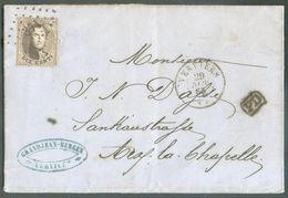 N°14 - Médaillon 10 Centimes Brun, Obl. LP. 374 Sur Lettre De VERVIERS Le 29 Novembre 1865 En Port Frontalier Vers Aix-L - 1863-1864 Medaillen (13/16)