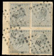 N°17(4) - 10c. Gris En Bloc De 4, Obl. LP.78 - Rare **  - 12597 - 1865-1866 Profiel Links