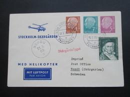 BRD 1955 Med Helikopter Stockholm Skärgarden. Skärgardsflyget. Zuleitung Aus Düsseldorf. Helikopterpost - Hubschrauber