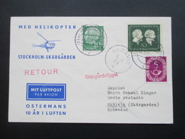 BRD 1954 Med Helikopter Stockholm Skärgarden. Skärgardsflyget. Zuleitung Aus Hamburg. Posthorn Mit PF ?! Helikopterpost - Hubschrauber