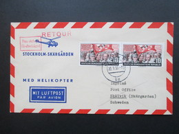 DDR 1955 Med Helikopter Stockholm Skärgarden. Retour Non Reclame. Zuleitung Aus Berlin.Stockholm Rebut Helikopterpost - Hubschrauber