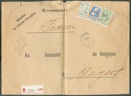 Affr. GROSSES BARBES à 80c. Obl. Sc BRUXELLES 1 Sur Enveloppe En Triple Port Recommandée Du 28-V-1912 Vers Consulat De B - 1905 Grosse Barbe