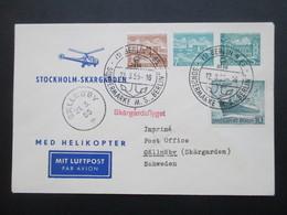 Berlin 1955 Med Helikopter Stockholm Skärgarden. Privatganzsache! Zuleitung Aus Berlin.SST MS Berlin. Helikopterpost - Hubschrauber