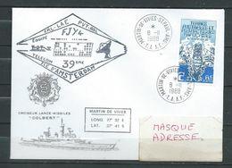 Croiseur COLBERT -Passage Aux TAAF - TàD MARTIN DU VIVIES 08/11/88 ( Scan Recto/verso) - Marcophilie (Lettres)