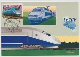 "France : Carte Maximum ""Le TGV - Paris 2002"" - Cartas Máxima"