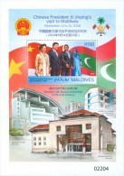 MALDIVES 2015 - Chinese President Xi Jinpig. Silk Stamp - Mi Bl.810 - Maldives (1965-...)