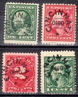 USA Precancel Vorausentwertung Preo, Locals Ohio, Cincinnati L-4 E, Perf. 12x12, 4 Diff. - Vereinigte Staaten