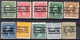 USA Precancel Vorausentwertung Preo, Locals Ohio, Cincinnati L-6 E, 10 Diff., Perf. 3 X 10x10, 7 X 11x11 - Vereinigte Staaten