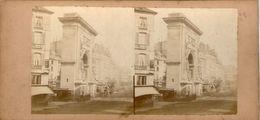 (59)  Photo Originale Sur Carton Fin 1800 Paris Porte St Denis   16cm X 8.5cm (Bon Etat) - Photos Stéréoscopiques