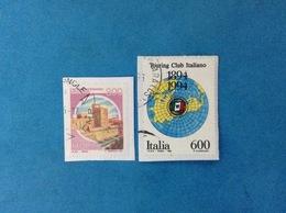 1994 ITALIA FRANCOBOLLI USATI TWO STAMPS USED - CASTELLO NORMANNO SVEVO NUOVO TIPO 300 LIRE + TOURING CLUB - 6. 1946-.. Republic