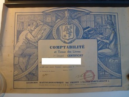 Certificat Comptabilité Et Tenue De Livres 1950 - Diplômes & Bulletins Scolaires