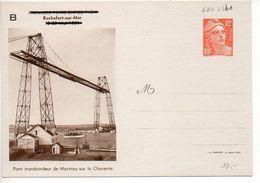 Carte Neuve TSC 12F Gandon Rochefort 1951 Avec Repiquage B (GAN L3b1) - Pont Transbordeur De Martrou - Standard Postcards & Stamped On Demand (before 1995)