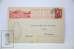 Switzerland - 1923 Postal Stationary - Pontresina, Engadin - Posted To Spain - Enteros Postales