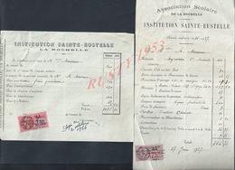 LA ROCHELLE ÉCOLE RELIGIEUSE FACTURE INSTITUTION SAINTE EUSTELLE ANNÉE 1930 + REÇU : - Religion & Esotericism