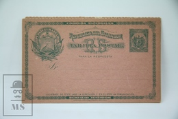 Old Postal Stationary - El Salvador - Double, Replay Paid - El Salvador