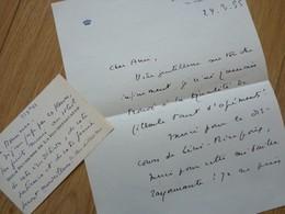 Duchesse Edmée DE LAROCHEFOUCAULD (1895-1991) Femme De Lettres. Jury FEMINA - 2 X AUTOGRAPHE à Louis Artus - Autographes