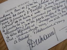 Georges DUHAMEL (1884-1966) Académie Française. CHRONIQUE Des PASQUIER - Autographe - Autographes