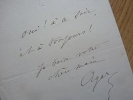 Mademoiselle AGAR (1832-1891) Actrice THEATRE. COMMUNE PARIS. Autographe - Autographes