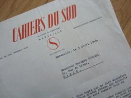 Jean BALLARD (1893-1973) Poète. Marseille [ Pagnol ] CAHIERS DU SUD. Autographe à DUHAMEL - Autographes