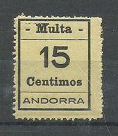 ANDORRA- SELLOS-VIÑETAS. MULTA  MUY DIFICILES 15 Centimos Rescto Verso Calcado Al Rebes (S.2.C.02.18) - Timbres
