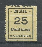 ANDORRA- SELLOS-VIÑETAS. MULTA  MUY DIFICILES 25 Centimos  MUY BONITO (S.2.C.02.18) - Timbres