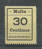 ANDORRA- SELLOS-VIÑETAS. MULTA  MUY DIFICILES 30 Centimos  MUY BONITO (S.2.C.02.18) - Sellos