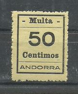 ANDORRA- SELLOS-VIÑETAS. MULTA  MUY DIFICILES 50 Centimos  MUY BONITO (S.2.C.02.18) - Timbres