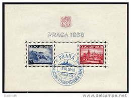 CZECHOSLOVAKIA 1938 PRAGA Stamp Exhibition Block Used.  Michel Block 4 - Blocks & Sheetlets