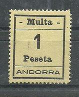 ANDORRA- SELLOS-VIÑETAS. MULTA  MUY DIFICILES 1 Peseta  MUY BONITO (S.2.C.02.18) - Timbres