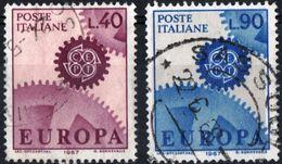 ITALIA, ITALY, REPUBBLICA, COMMEMORATIVO, EUROPA UNITA, CEPT, 1967, FRANCOBOLLO USATO,  Sass. 1038-1039   Scott 951-952 - 1961-70: Usati