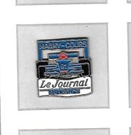 Pin's  Ville, Sport  Automobile  F 1  Voiture  Bleu  Renault ?  Circuit  De  MAGNY - COURS, Média  Le Journal Du CENTRE - F1