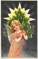 CPA Ange Angel Anges Gaufré Circulé Noël Avec Perles En Relief - Anges