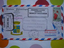 MADAGASCAR - Première Liaison Aérienne Tromelin Du 31/07/1954 Avec PA N° 9 - Variété D'essuyage - SUPERBE - Madagaskar (1889-1960)
