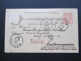 Österreich 1889 GA P 51 Weltvereinspostkarte Nach Antwerpen. Retour / Zurück! 5 Stempel!! - 1850-1918 Imperium