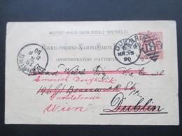 Österreich 1890 GA P 51 Weltvereinspostkarte Nach Dublin. Social Philately Richard Welch Vice Counsil. Return - 1850-1918 Imperium