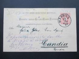 Österreich 1890 GA P 51 Weltvereinspostkarte Nach Candia. Zurück Mit Vermerk! - 1850-1918 Imperium