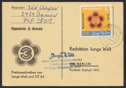 """Spendenmarke S 1 Mit Tagesstempel """"Dessau"""" Und Eingangsstempel, Selten ! - DDR"""