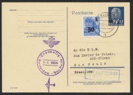 P 62 Mit Pass. Zusatzfrankatur Per Luftpost Nach Brasilien - DDR