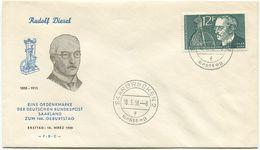FDC Saarland 1958, Rudolf Diesel, Michel 432 (522) - FDC