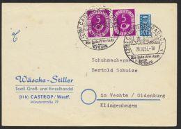 """MiNr. 125, Waag. Paar Auf Sauberer Bedarfskarte """"Castrop"""", 28.10.53 - BRD"""