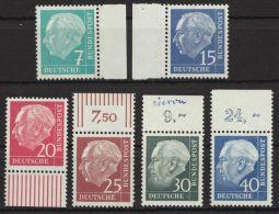 """Aus MiNr. 179/260 Y """"Heuß-lumogen"""", 6 Versch. Randstücke, ** - BRD"""