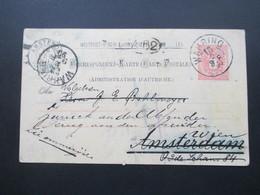 Österreich 1890 GA P 51 Weltvereinspostkarte Nach Amsterdam Mit 4 Stempeln. Vermerk: Zurück An Den Absender! - Briefe U. Dokumente