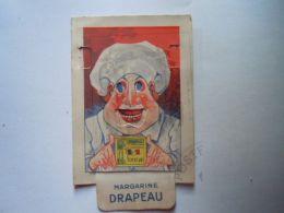 """Reclame Publicité Margarine """"Le Drapeau"""" De Vlag Merxem (Anvers) Kok Beweegbaar Deel Cuisiner à Tirette 7,8 X 12 - Reclame"""