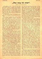 """""""Das Mag Ich Nicht"""" / Plauderei, Entnommen Aus Zeitschrift / 1905 - Books, Magazines, Comics"""