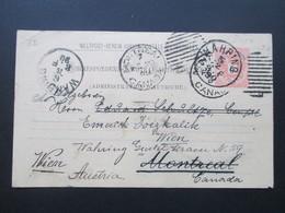 Österreich 1890 GA P 51 Weltvereinspostkarte Nach Montreal Kanada. Zurück / Retour. Social Philately Konsul - 1850-1918 Imperium